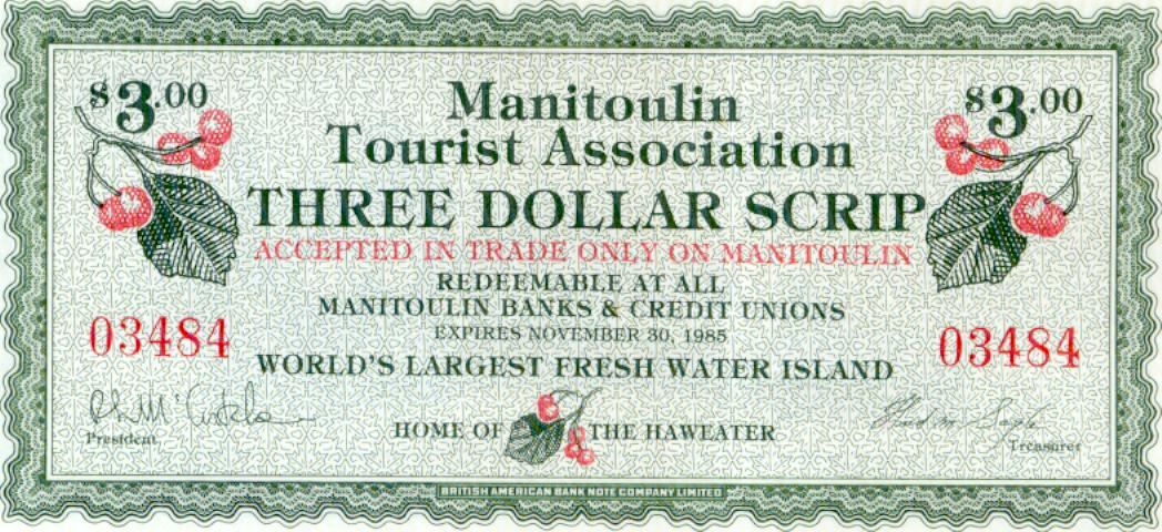 1985 Manitoulin Island Trade Note or Script